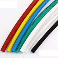 ART IFACT 10 Meters Heat Shrink Tube Polyolefin 2:1 Sleeve for Wrap 2mm, 3mm, 4mm, 5mm and 6mm- 2 Meters each colour (Red + White + Blue + Green + Black, 4mm)