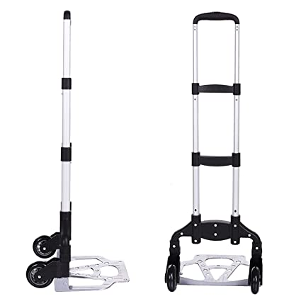 Ad Fresh Inditradition Multipurpose Foldable Hand Trolley for Luggage | for Home & Office Use | Aluminium, 110 cm (Silver) Luggage Trolley (Foldable)