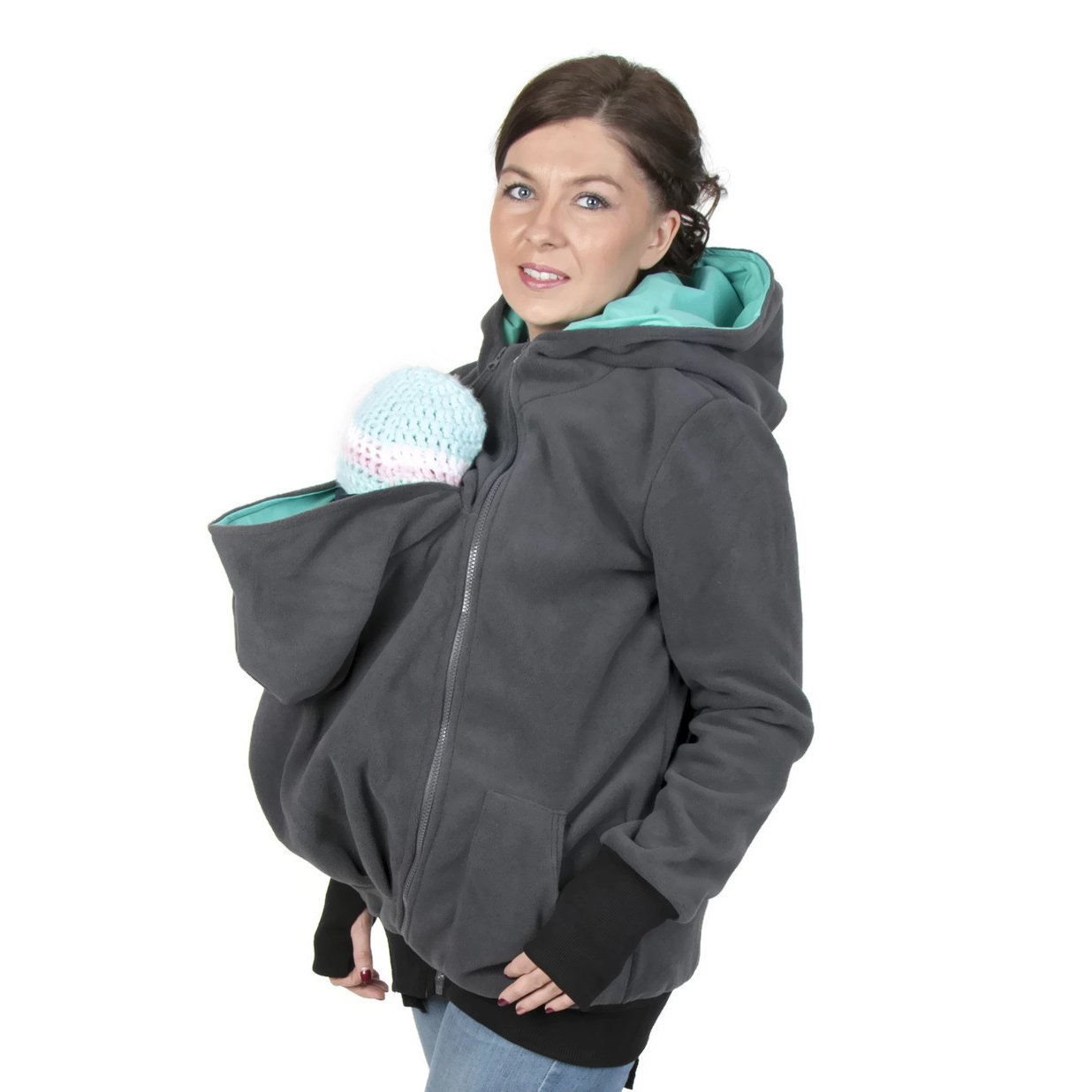 3in1 Maternity Multifunctional Kangaroo Hoodie/jacket for MOM and Baby, Baby Carrying Hoodie (L/XL US 10/12)