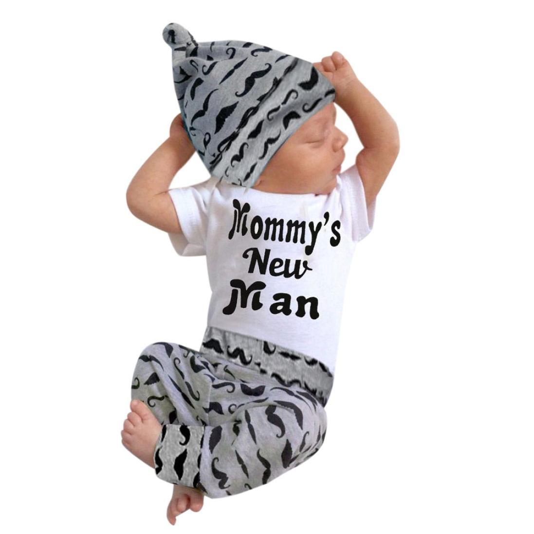 Leey simpatico set 3 pezzi simpatico fondo pagliaccetto top + pantaloni lunghi cappello abiti vestiti confortevole set baby pettorina per neonato a maniche lunghe con stampa tre pezzi