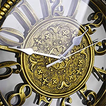 Foxtop 12 Inch Vintage Silent Non-Ticking Decorative Wall Clock, Battery Operated Quiet Analog Quartz Wall Clocks Retro Style for Kitchen Living Room Bedroom Dining Room Gifts (Gold & Black)