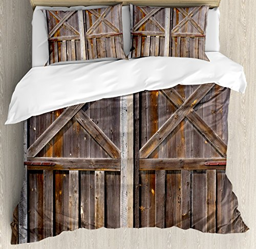 Rustic Duvet Cover Set King Size by Ambesonne, Old Wooden Barn Door of Farmhouse Oak Countryside Village Board Rural Life Photo Print, Decorative 3 Piece Bedding Set with 2 Pillow Shams, Brown