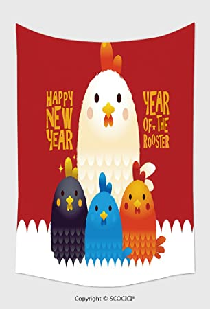 home decor tapestry wall hanging chicken new year card illustration year of the rooster happy new