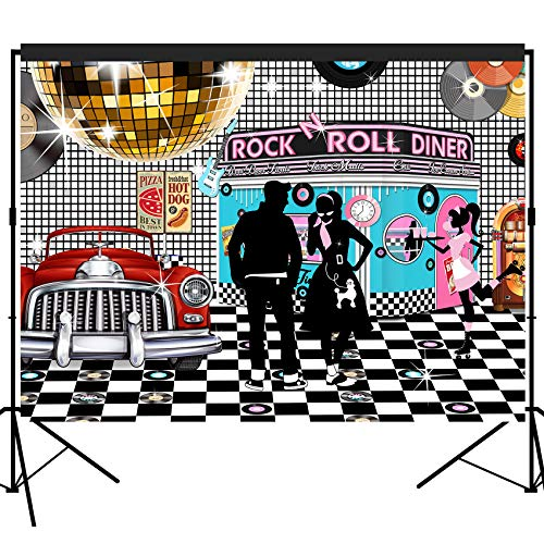 musykrafties 50s Diner Backdrop Large Banner Decoration Dessert Table Background Photobooth Prop 7x5feet -