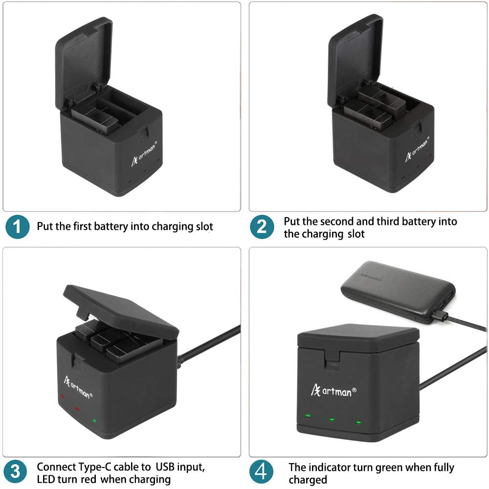 Fully Compatible with Original and 3-Channel LED USB Charger for GoPro Hero 8 Black,Hero 7 Black,Hero 6 Black,Hero 5 Black Artman GoPro Hero 8//7//6//5 1500mAh Replacement Batteries 3-Pack