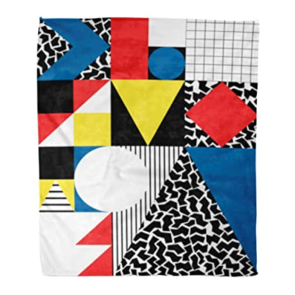 Golee Throw Blanket Colorful Bauhaus Abstract Geometric in Retro Modern Pattern 80S Avant 50x60 Inches Warm Fuzzy Soft Blanket for Bed Sofa