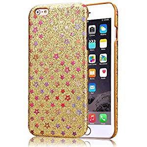 Para iphone 6 , ivencase Colorido Bling Glitter Stars Patrón Duro Ultra Slim Bumper Trasero Protector Funda Carcasa Tapa Case Cover Perfecto Fit Para Apple iphone 6 (4.7 inch) / iphone Air Oro