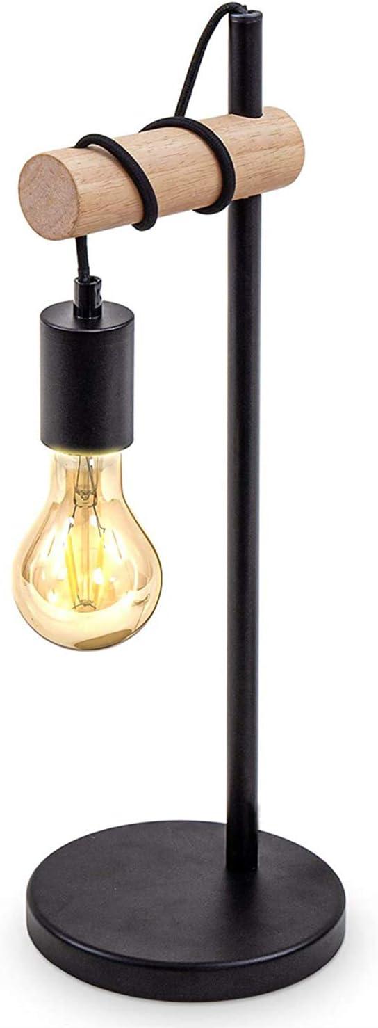 Lámpara de mesa, lámpara de mesa de llama vintage, Diseño industrial, lámpara retro, madera y metal, redonda, E27, sin bombilla (Negro)