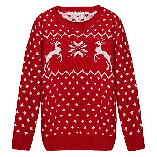 ANGVNS Christmas Reindeer Embroidered Pullover
