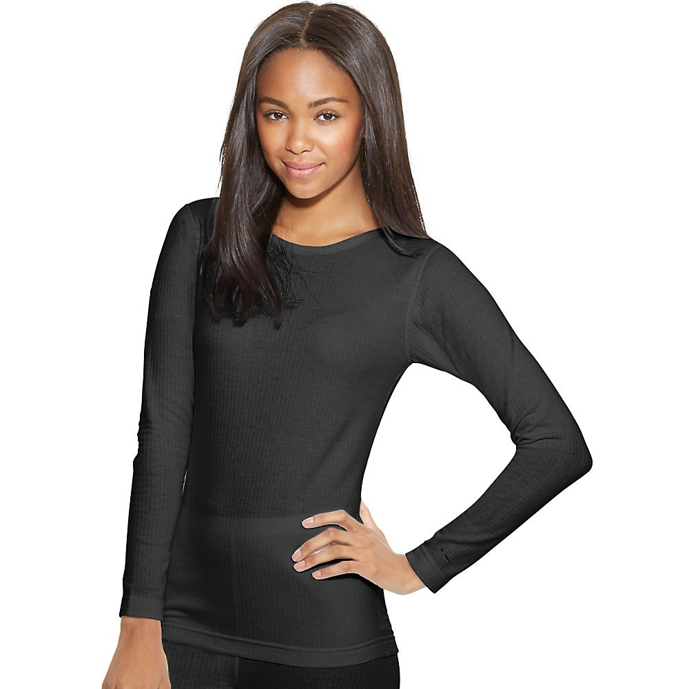 Duofold Women's Mid Weight Wicking Thermal Shirt, Black, Medium
