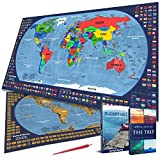 Scratch off Map of the World, with country flags and US state borders - Laminated surface - Scrape tool included - Bright and Vibrant Colors - Designed by Dotty N'Spotty