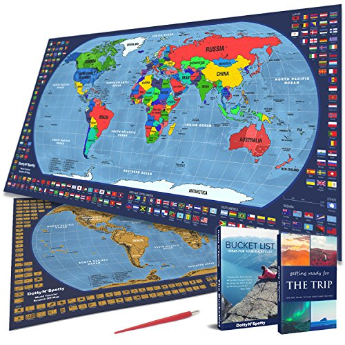 Scratch off Map of the World, with country flags and US state borders - Laminated surface - Scrape tool included - Bright and Vibrant Colors - Designed by Dotty N'Spotty by Dotty N'Spotty (Image #9)