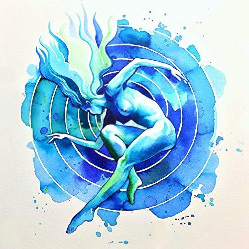 Original Signed Watercolor (Blue Resonance Watercolor Original Art Print by Aleksandra Stojanoska Hand Signed)