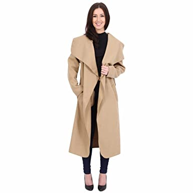 3311c8297bb SUFIAH Womens Ladies Long Sleeve Oversized Waterfall Italian Blazer Belted  Duster Coat Oversized Celebrity Plus Sizes Black  Amazon.co.uk  Clothing