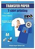 A4 Inkjet (Jet d'encre) Papiers transferts application avec un fer à repasser / Transferts pour T shirt - T Shirt léger x 20 Feuilles