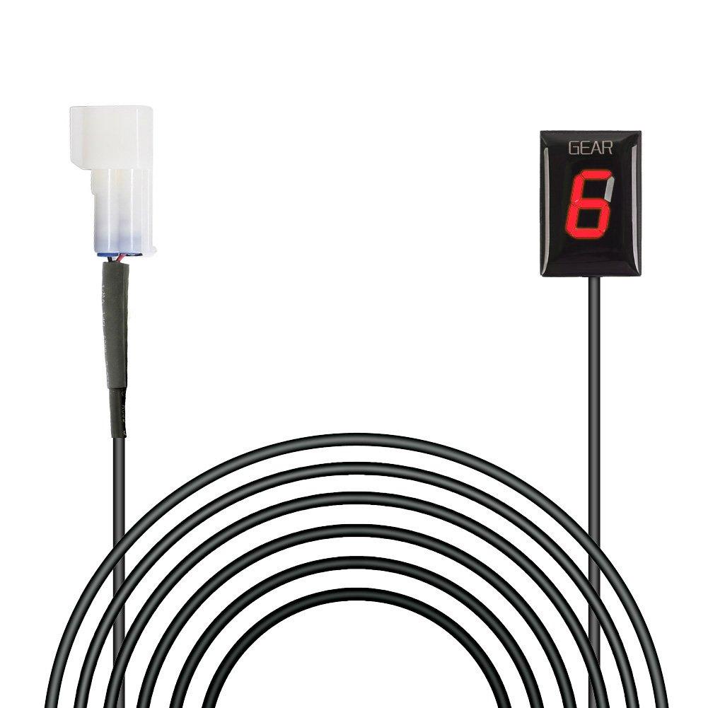 IDEA para Kawasaki Plug & Play Indicador de engranaje de motocicleta a prueba de agua Pantalla LED Alambre Parte trasera Outle (Rojo/Modelo 2003-2014): ...