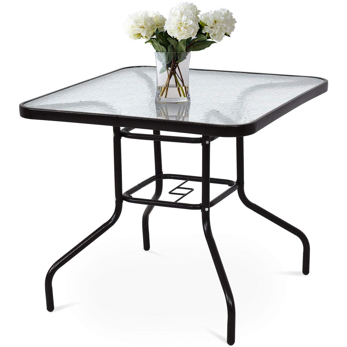 Tangkula 32'' Patio Table Tempered Glass Top Metal Frame Outdoor Garden Poolside Balcony Dining Bistro Table (Square) by Tangkula