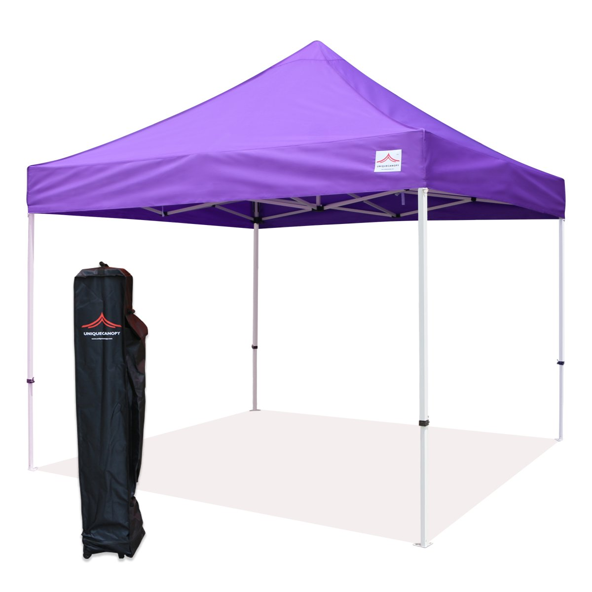 UNIQUECANOPY 10x10 Ez Pop up Canopy Tents for Parties Outdoor Portable Instant Folded Commercial Popup Shelter, with Wheeled Carrying Bag Purple