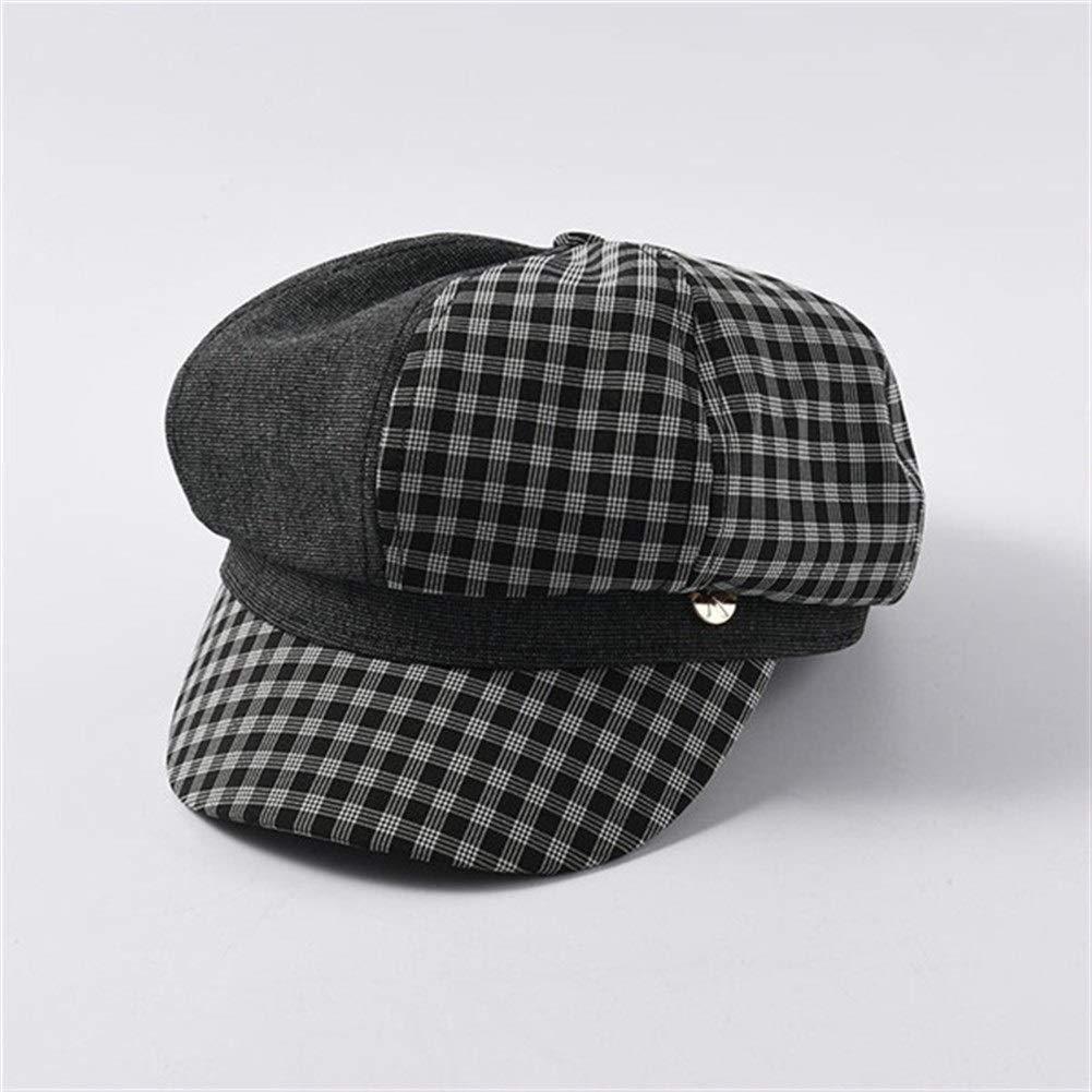 Autumn Hats Women Plaid Octagonal Hats British Retro Newsboy Caps Female Patchwork Visor Cap Berets (Color : Black, Size : M) by ERNANGUA