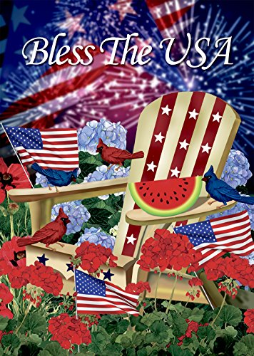 Morigins Bless The USA Patriotic Pansies Double Sided House Flag,USA House Yard Flag, Decorative Outdoor 4th of July Flag 28 x 40 Inch