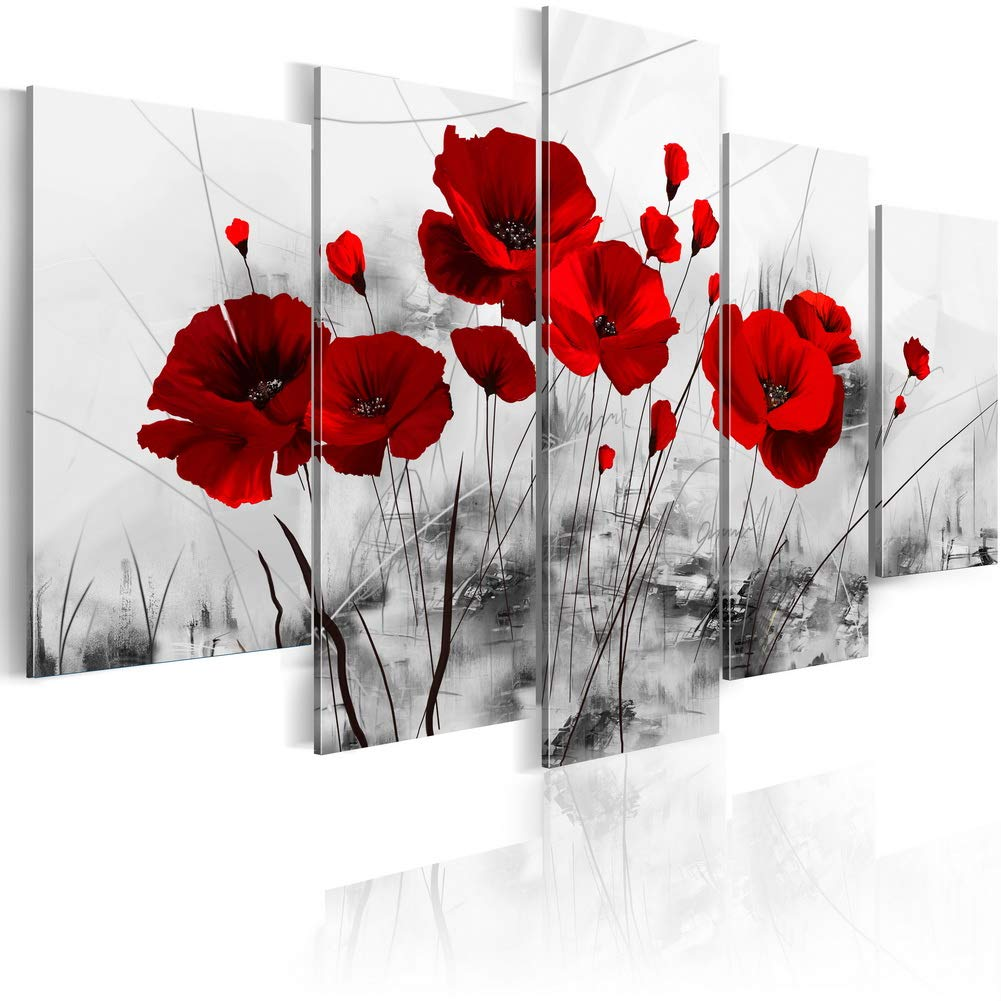 5 Panels Flower Canvas Painting Red Poppies Floral Art Modern Abstract Home Decor Grey Wall Art Framed Print Pictures Artwork for Living Room