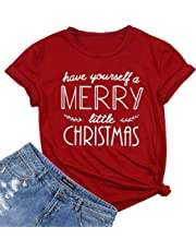 Have Yourself a Merry Little Christmas T Shirt Tees Women Short Sleeve O Neck Tees Tops
