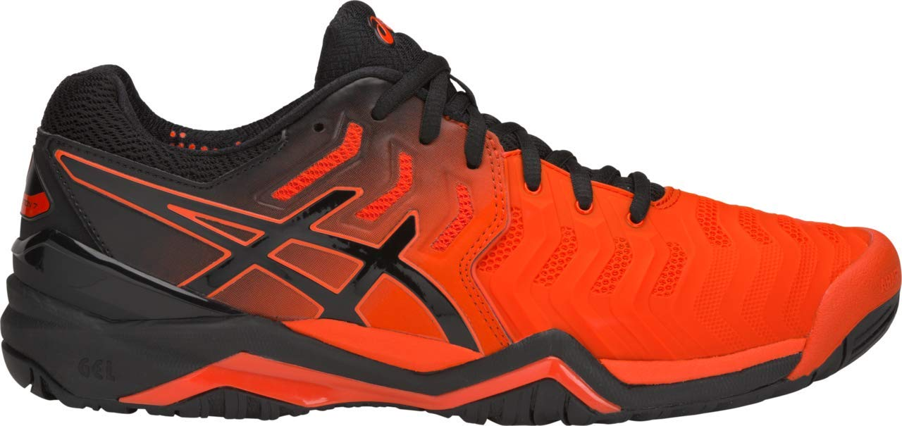 ASICS Gel-Resolution 7 Men's Tennis Shoe, Cherry Tomato/Black, 6 D US