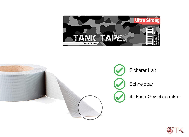 Gewebeklebeband 50 Meter * 50 mm 3x Panzertape Tank Tape 2.0 ultrastark /& witterungsbest/ändig Panzerklebeband Reperaturband Gewebeband Duct Tape silber 3x Panzertape