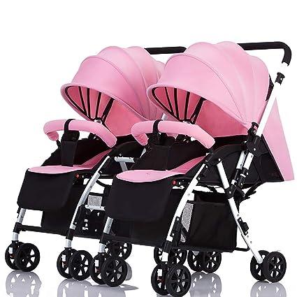 Guo@ Cochecito de bebé doble Manija desmontable Carro infantil reversible Puede sentarse y acostarse Carretilla