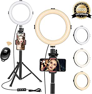 JBAG Dimmable LED Selfie Ring Light 3 Modes 3200-6500K Photography YouTube Video Live Photo Studio Vlogging Light with Round Base Desktop Mount Holder