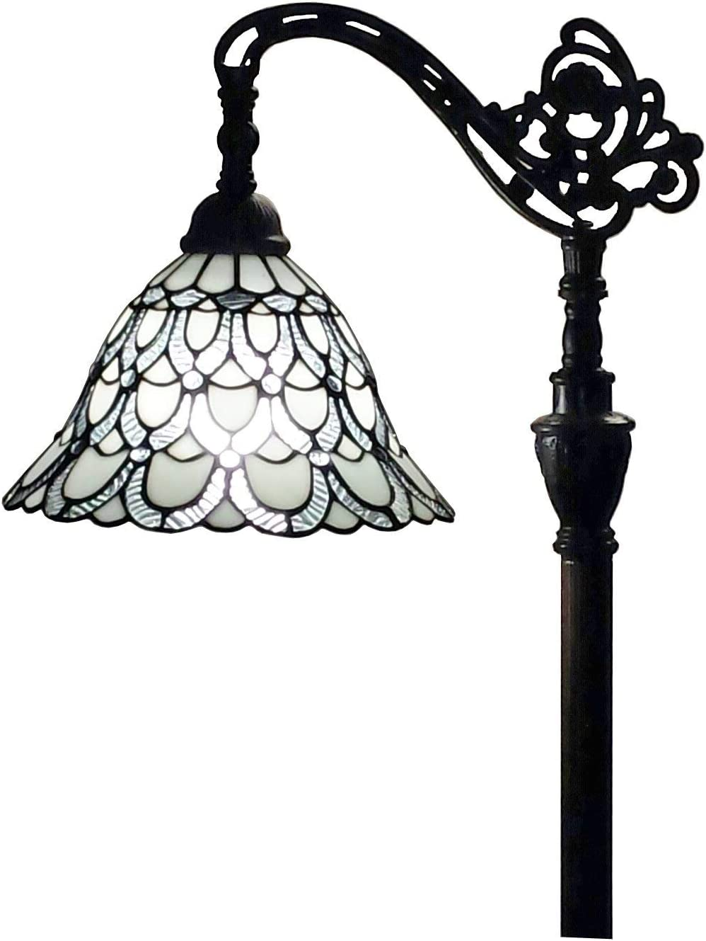 Tiffany Style Floor Lamp Arched 62 Tall Stained Glass White Mahogany Peacock Feathers Antique Vintage Light Decor Bedroom Living Room Reading Gift AM107FL11 Amora Lighting