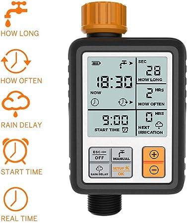 MEETGG Automático Temporizador de Agua, Digital Programable Grifo de jardín Temporizador de riego Controlador del Sistema/Modo automático y Manual/Retraso por la lluvia/IP65 a Prueba de Agua: Amazon.es: Hogar