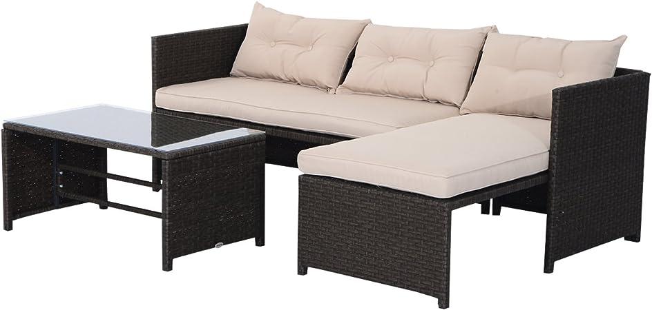 Outsunny Conjunto de Muebles de Jardín de Poliratán Incluye 3 ...