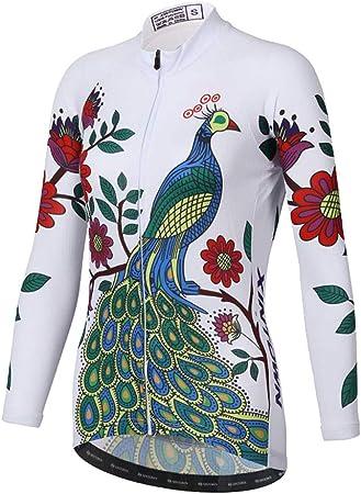 MHSHXY De Las Mujeres Maillot Ciclismo Secado Rápido Camisa De Ciclo Cremallera Bolsillos Manga Larga Pantalones Conjunto Montaña Bicicleta Camisas Top-S: Amazon.es: Hogar