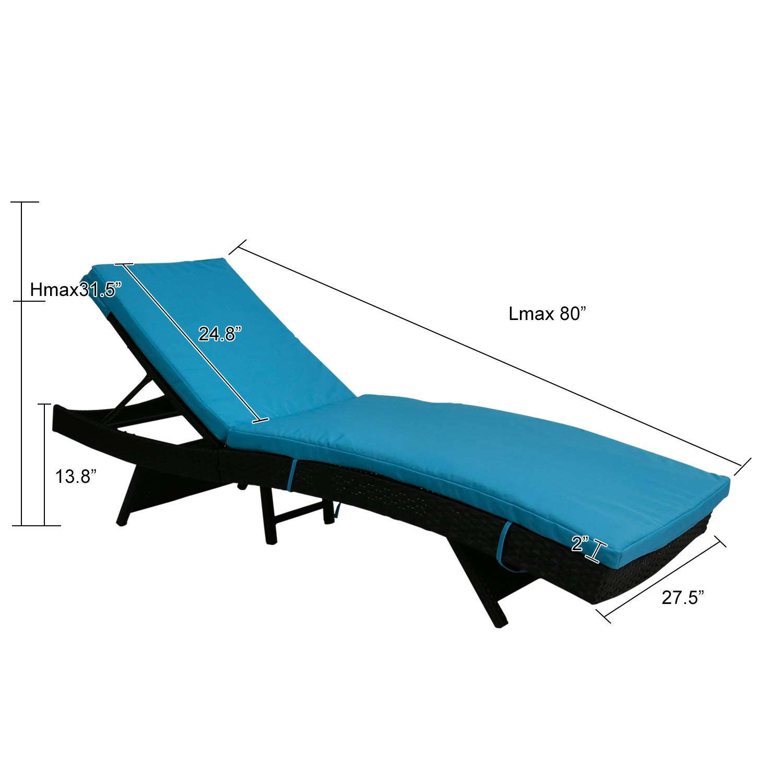 Kinbor Patio Wicker Rattan Chaise Lounge Chair Outdoor Black Adjustable PE Pool Chairs Furniture w/Blue Cushion