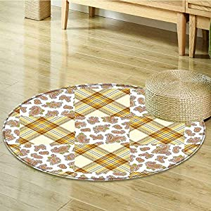 Sigrid Sapir DIY Anti-Skid Area Rug Patch and Deceit Lines andMotifs Nostalgic Stripes Yellow Brown Soft Area Rugs-Round 59""