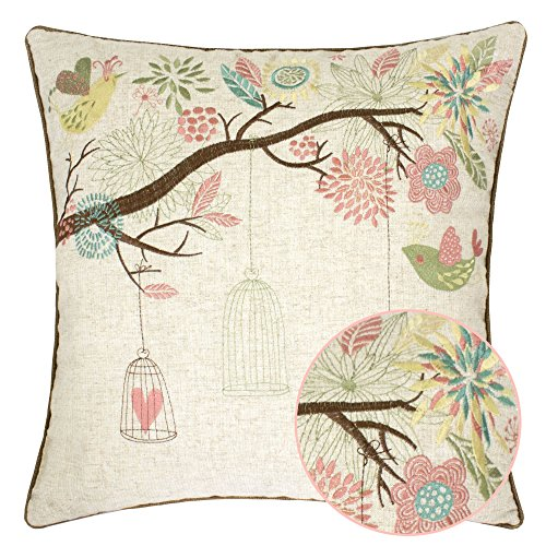 Homey Cozy Embroidered Linen Throw Pillow Cover, Decorative Square Couch Cushion Pillow Case Rustic Shabby Chic Garden 20 x 20 Inch, Cover Only (Sofa Pillows Shabby Chic)