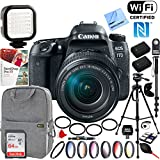 Canon EOS 77D 24.2 MP CMOS (APS-C) Digital SLR Camera with EF-S 18-135mm IS USM Lens + 64GB SDXC Memory and Pro Accessory Bundle