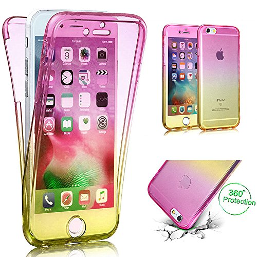 "iPhone 6S Plus Case,iPhone 6 Plus Case,ikasus Luxury Gradient Color Shockproof Ultra Slim Thin Soft Silicone TPU Rubber Front Back Full Body 360 Degree Case Cover for iPhone 6S/6 Plus 5.5"",Pink Yellow"