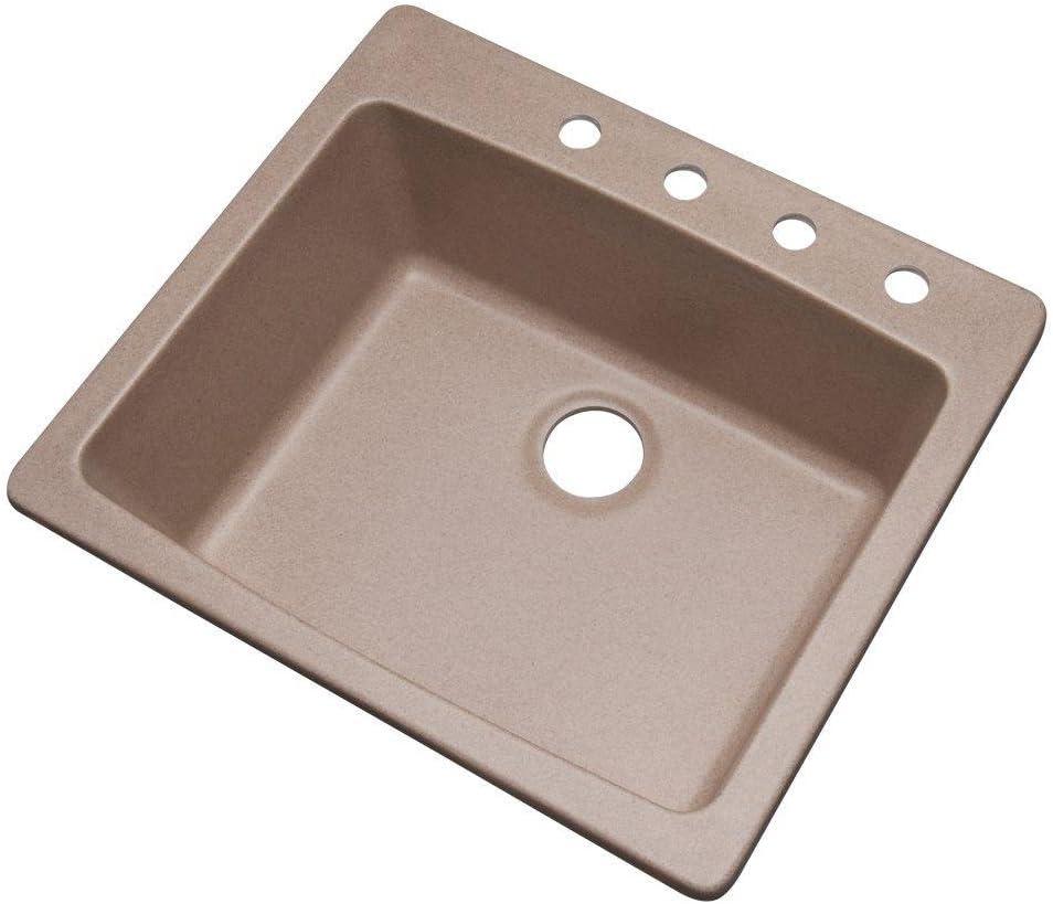 Mont Blanc Northbrook Drop-in Composite Granite 25x22x9 4-Hole Single Bowl Kitchen Sink in Desert Sand