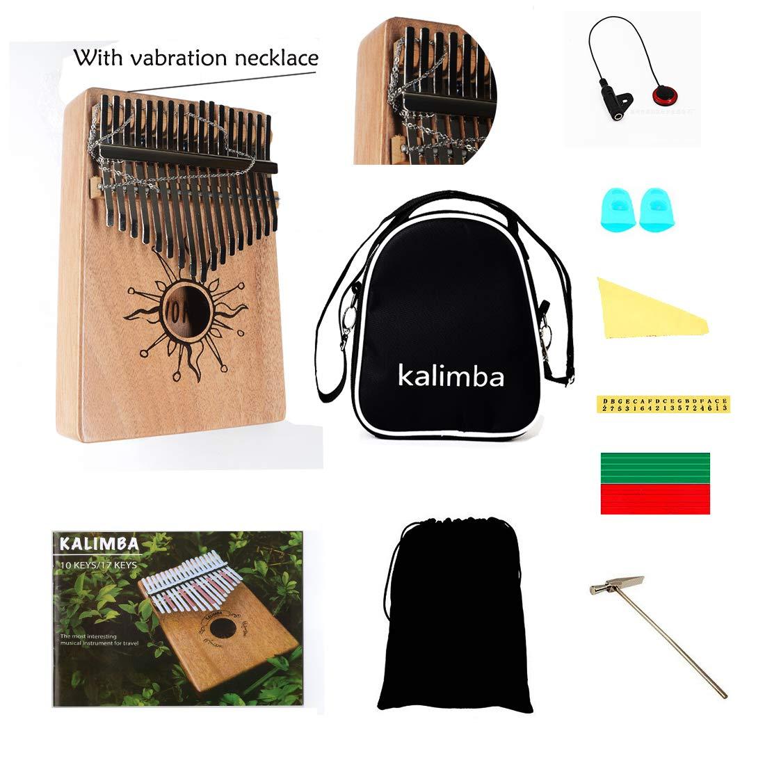 AOVOA Thumb Piano, 17 key Kalimba, Finger Piano Mbira, Mahogany Body Kalimba with Tuning Hammer, Pickup, Finger Guards, Carry Bag and Key stickers, Ideal Gift for Music Fans by AOVOA (Image #7)