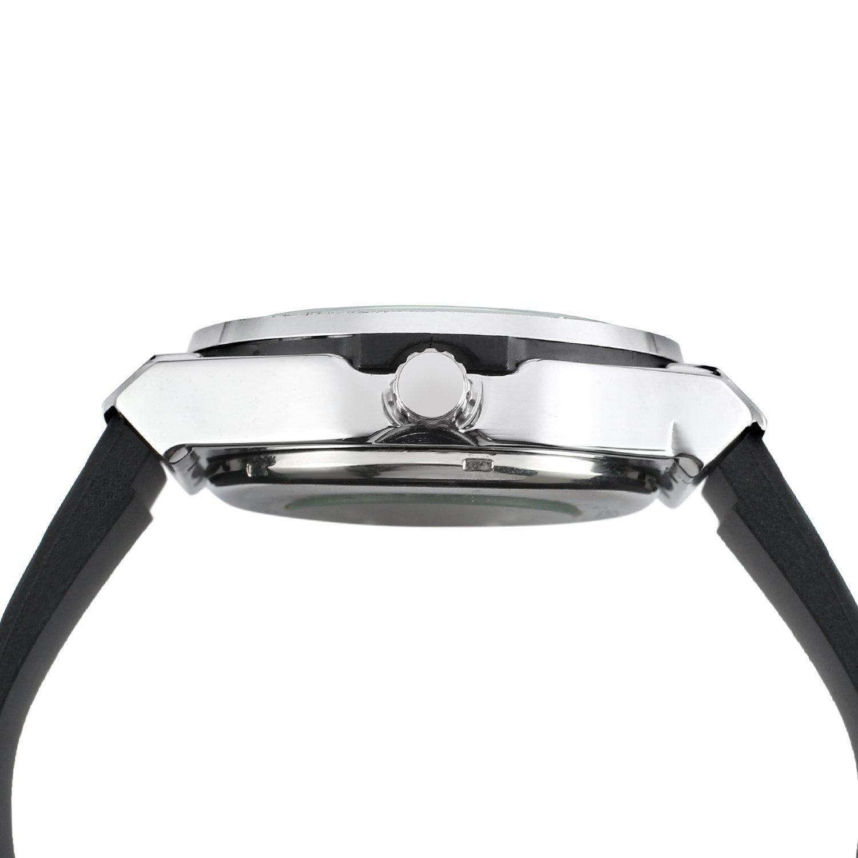 Gosasa Classic automático hombre negro plateado Reloj con correa de caucho reloj: Amazon.es: Relojes