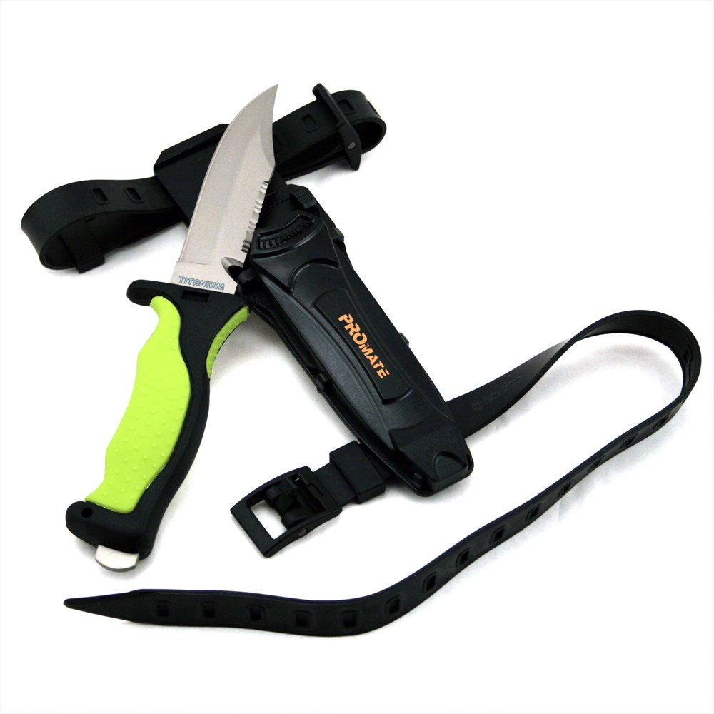 Promate Scuba Dive Snorkel Titanium Knife 4 3 8 Blade with straps and sheath