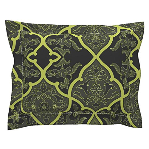 (Roostery Jade Euro Flanged Pillow Sham The Sybil ~ Forgotten Kingdom by Peacoquettedesigns Natural Cotton Sateen Made)