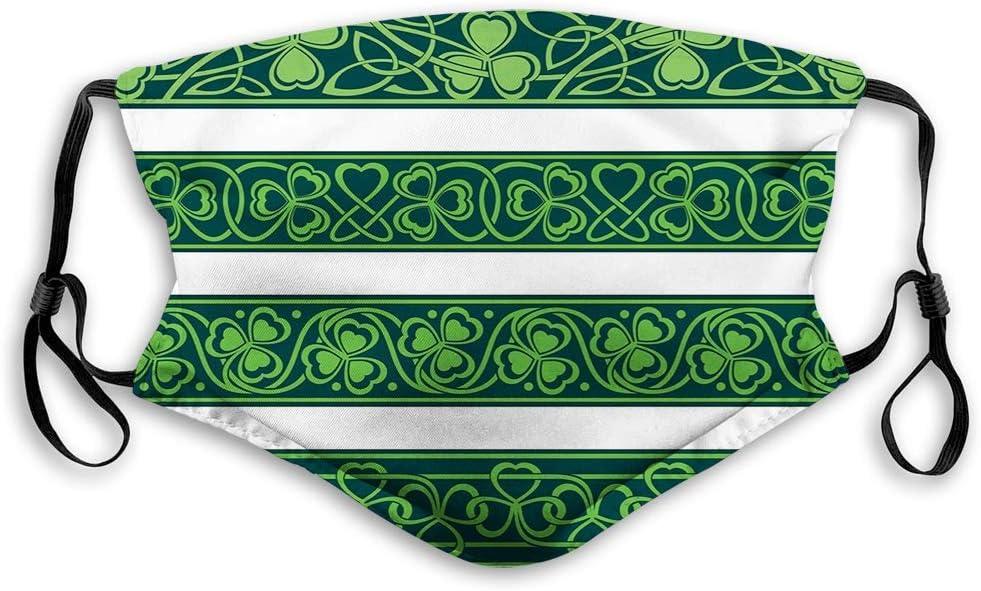 Cómoda máscara a Prueba de Viento, tréboles irlandeses, tréboles, gaélico, Naturaleza, botánica, tréboles con remolinos, Verde Bosque para niños Tamaño: S