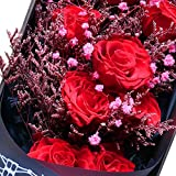 11 PCS Preserved Real Red Rose in a gift box ,can be last for 3-5 years And a beautiful card, a perfect Gift for Valentine's day /Christmas/ Girlfriend's birthday