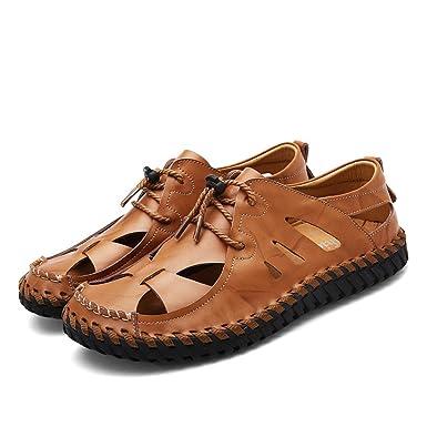 Herren Braun Leder Closed-Toe Sandalen Walking Sandalen Outdoor Wandern Trekking Schuhe