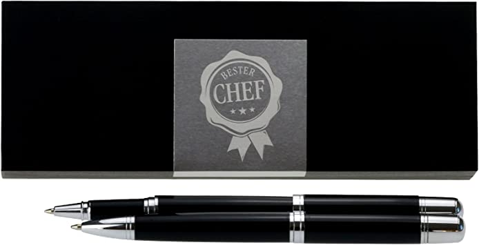 Bester Chef graviertes Schreibset mit Kugelschreiber Tintenroller und Etui