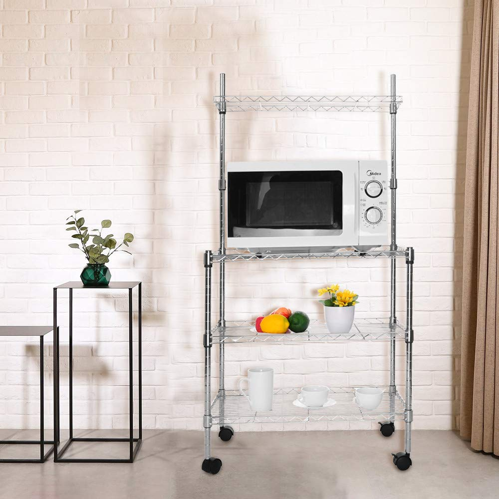 Hisoul Hot  3-Layer Microwave Rack Easy to Move Kitchen Cart Microwave Stand Storage Rack with Four-Wheel Storage Rack with Spice Rack - Silver - 23.62''x13.78''x47.24'' - Shipped from USA (Silver) by Hisoul (Image #1)