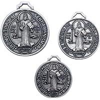 Sint Benedictus Medaille verzilverd - Set van 3 medailles - Diameters 3 - 3,5 - 4 cm
